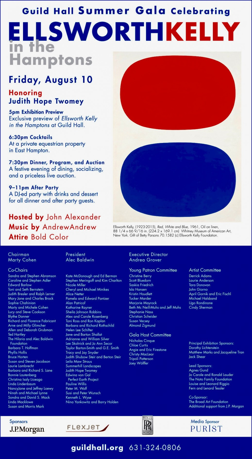 East Hampton Guild Hall Summer Gala: Ellsworth Kelly. August 10
